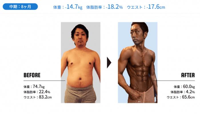 痩せた効果2ダイエットモニター募集中パーソナルトレーニングBEYOND