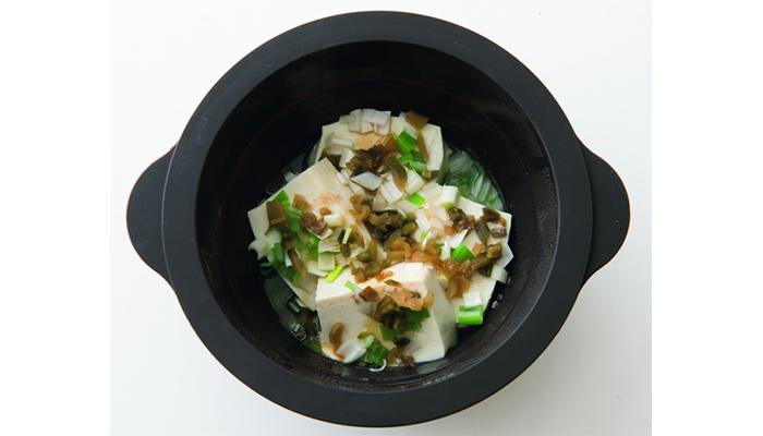 ザーサイ温やっこ楽できる&ダイエット夜遅く食べても太らないレンチン小鍋レシピ